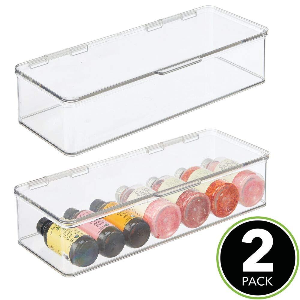 Organizador de nevera para t/é Cajas apilables de almacenamiento para despensa y estantes de cocina mDesign Organizador de cocina con tapa gris claro y transparente caf/é y aperitivos