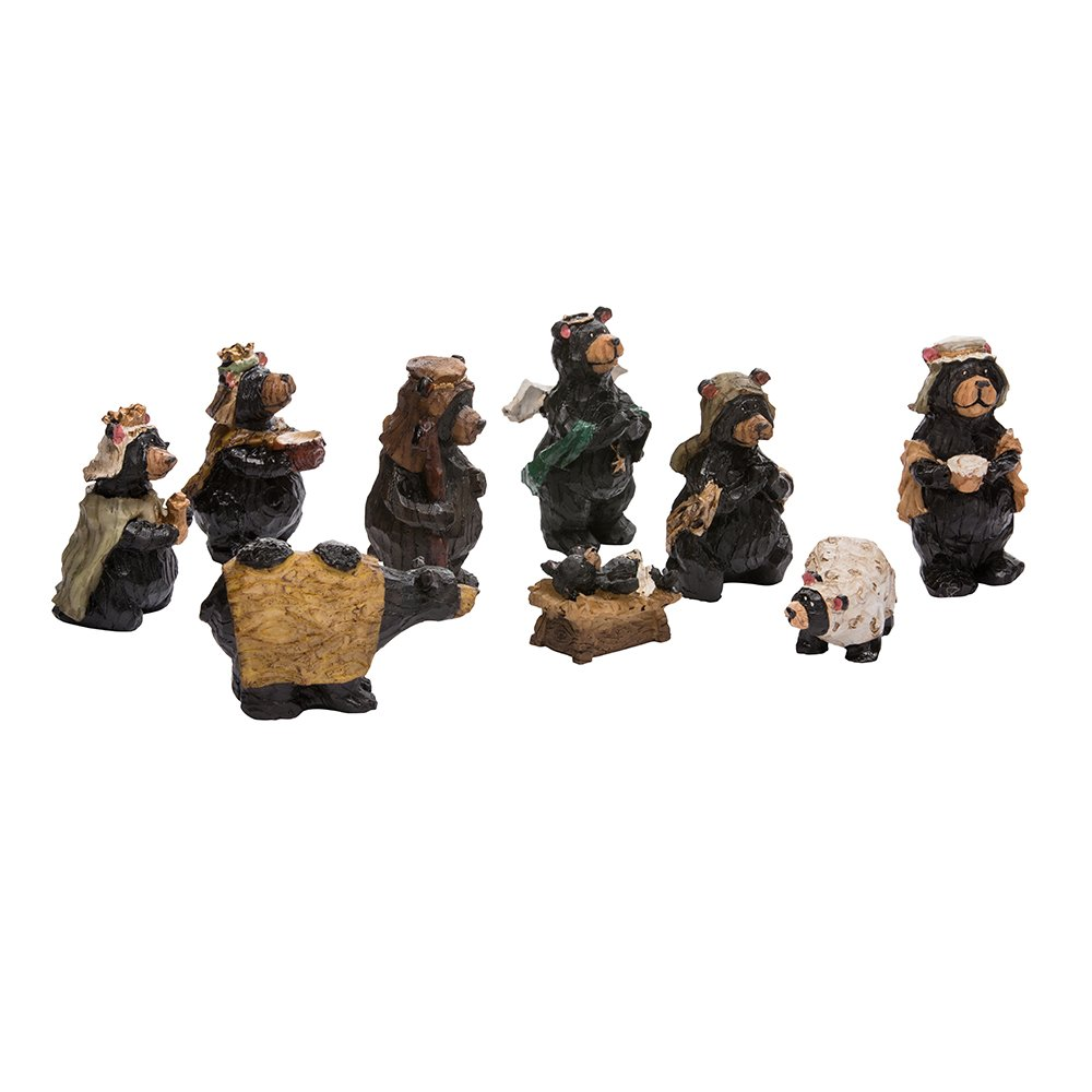 Kurt Adler Resin Nativity Bear, 4-Inch, Set of 9