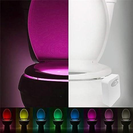 Lorenlli Smart LED Sensor de Movimiento Humano Baño Activado Luz de Noche Baño con 8 Colores