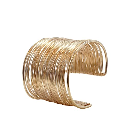60s -70s Jewelry – Necklaces, Earrings, Rings, Bracelets VANVENE Wire Metal Coil Thin Gold Cuff Bangle Bracelets for Women Fashion $8.98 AT vintagedancer.com