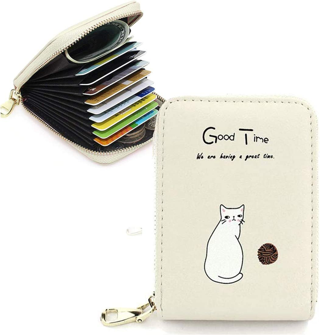 Cyber Deals Monday Sale Womens Cute Cat Credit Card Holder Wallet Case RFID Blocking Fashion Leather Money Change Coin Zipper Wallet Girls Short Purse Clutch Handbag Pocket Pouch Holster
