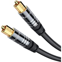BlueRigger Digital Optical Audio Toslink Cable (10FT / 3M, Fiber Optic Cord, Aluminum Shell, 24K Gold-Plated Connector…
