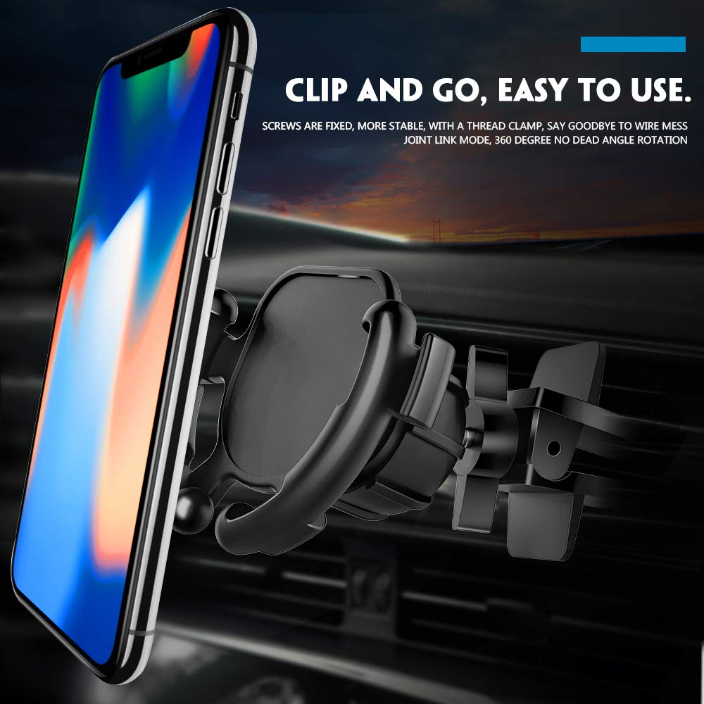 Upgraded Clip Car Vent Mount 360/° Rotation Air Vent Clip Mount with Screw Lock for GPS Navigation Compatible for Expanding Stand Grip Holder QIKOO