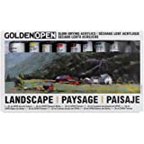 Golden Open Acrylic Landscape, Set Of 8