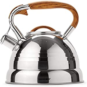 Sharper Image Stainless Steel Premium Tea Kettle with Wood Finish Handle and Sleek Chrome Body (3.4 Quarts)