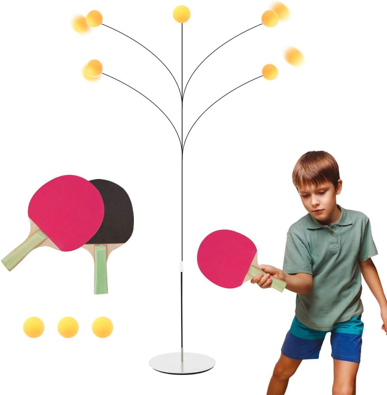 Surplex Juego de Entrenador De Tenis De Mesa con Elastic Vástago Suave, Altura Ajustable Table Tennis Trainer