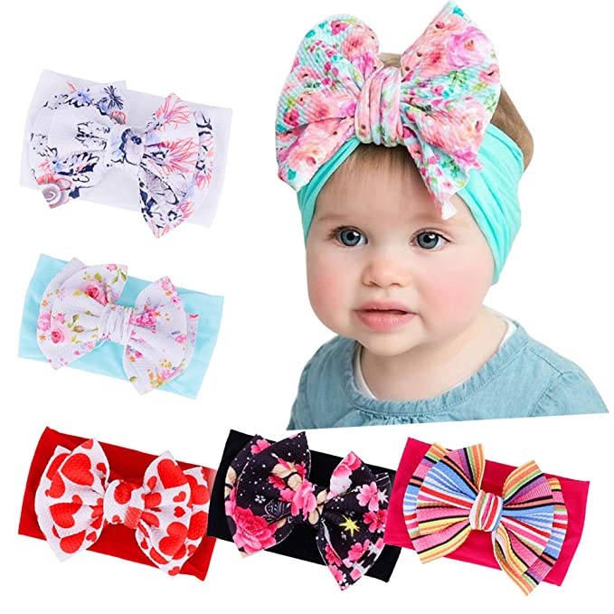 3b37bacc87812 Baby Girl Nylon Headbands and Bows, Newborn Headbands Infant Hairbands Toddler  Hair Accessories (Multicolor