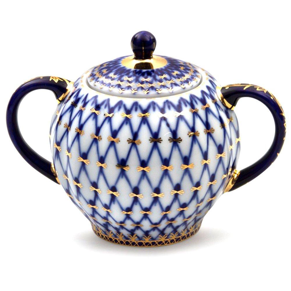 Lomonosov Porcelain Cobalt Net Sugar Bowl 22 Karat Gold 15 fl.oz