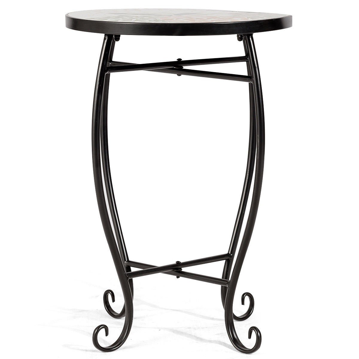 Custpromo Mosaic Accent Table Metal Round Side Table Plant Stand with Cobalt Glass Top Indoor Outdoor Garden Patio Table (Sweet Pineapple)
