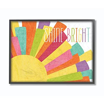 Stupell Home D/écor Graphic Rainbow Unicorn Framed Giclee Texturized Art Proudly Made in USA 12 x 1.5 x 12