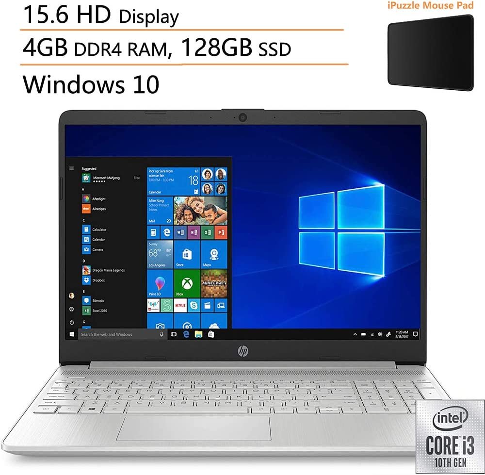 "HP 15 15.6"" Laptop Computer, 10th Gen Intel Core i3 1005G1 Up to 3.4GHz (Beat i5-7200u), 4GB DDR4 RAM, 128GB SSD, 802.11AC WiFi, Bluetooth, Silver, Windows 10, iPuzzle Mouse Pad"
