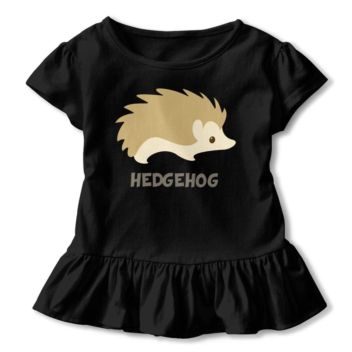 Embrace Hedgehogs Toddler Baby Girls Cotton Ruffle Short Sleeve Top Comfortable T-Shirt 2-6T