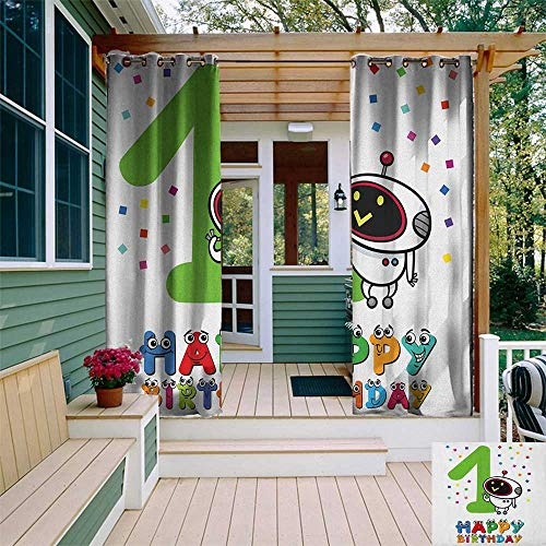 leinuoyi 1st Birthday, Outdoor Curtain Ties, Happy Emoji Faced Cartoon Style Quote with Robot on The Colorful Backdrop, Outdoor Privacy Porch Curtains W108 x L96 Inch Multicolor