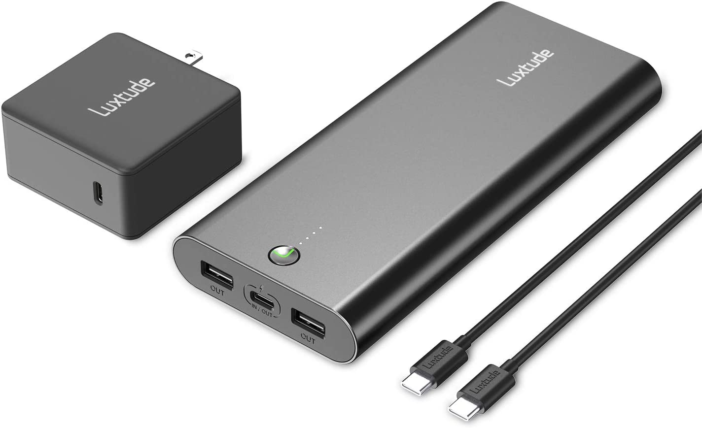 Luxtude 20000mAh Power Bank Portable Charger for Laptop, iPhone, iPad and Android, Fast Charging PD Portable Charger, 45W PD&QC 3.0 Power Delivery USB C Power Bank. (60W USB C Charger&Cable Included)
