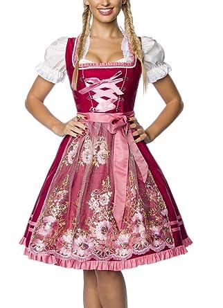 50d6fa94a4a327 Unbekannt Dirndl Kleid Kostüm mit Schürze Minidirndl mit Stickereien  Pailletten und ausgestelltem Rockteil Oktoberfest Dirndl rosa/rot:  Amazon.de: ...