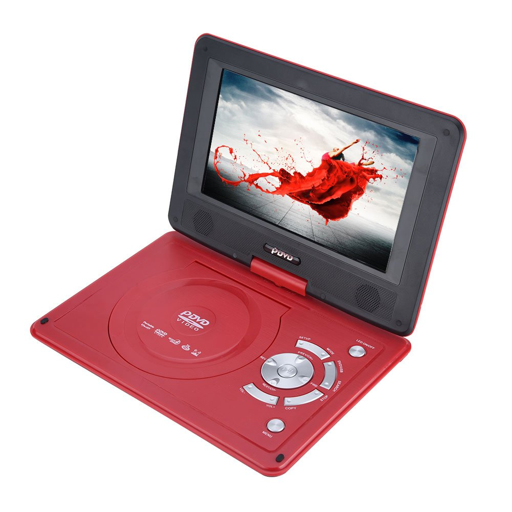 Zerone 9.8 Inch Portable DVD Player with Rechargeable Battery, Swivel Screen, SD Card Slot and USB Port, Support AVI, EVD, DVD, SVCD, VCD, CD, CD-R/RW, MPEG-4 and JPG Format, Red(US Plug)