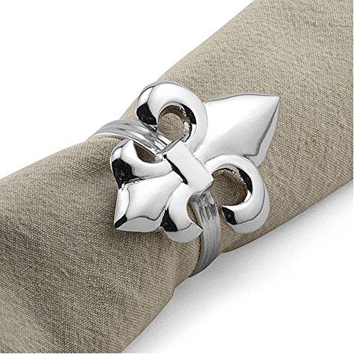 Epic 31-015 Metal Fleur De Lis Design Napkin Ring Holder In Silver Colored