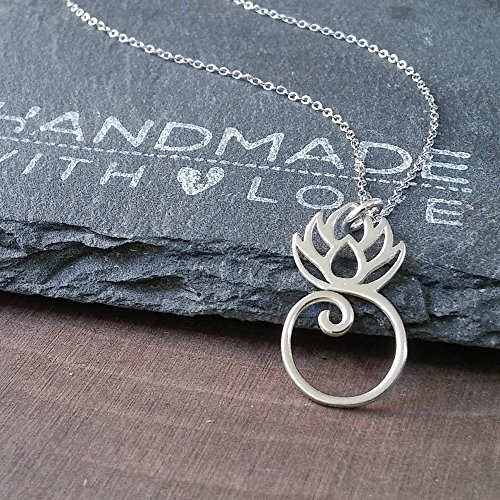 Sterling Silver Lotus Charm Holder Necklace, 18""