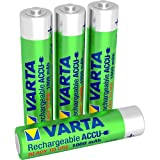 Varta Rechargeable Accu Ready2Use vorgeladener AAA Micro Ni-Mh Akku (4-er Pack, 1000 mAh), wiederaufladbar ohne Memory-Effekt - sofort einsatzbereit