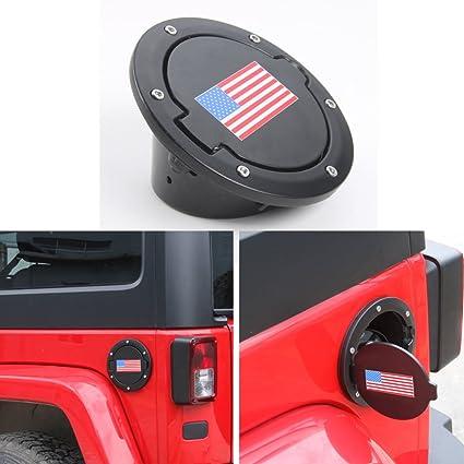 Routen Gas Tank Cap Cover Fuel Tank Cover 4-Door 2-Door for 2007-2017 Jeep Wrangler JK /& Unlimited