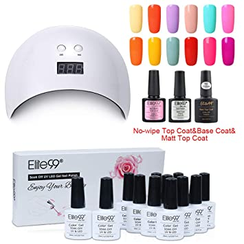Elite99 UV Gel LED Kt Esmaltes Semipermanentes UV con y 006 Coat Colores LED Top Uñas para 24w Base Lámpara de en 12 vwm0N8n