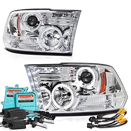 Vipmotoz Led Halo Ring Chrome Projector Headlight Lamp Assembly For 2009 2018 Dodge Ram 1500 2500 3500 Built In 55 Watts Xenon Hid Low Beam Driver Passenger Side