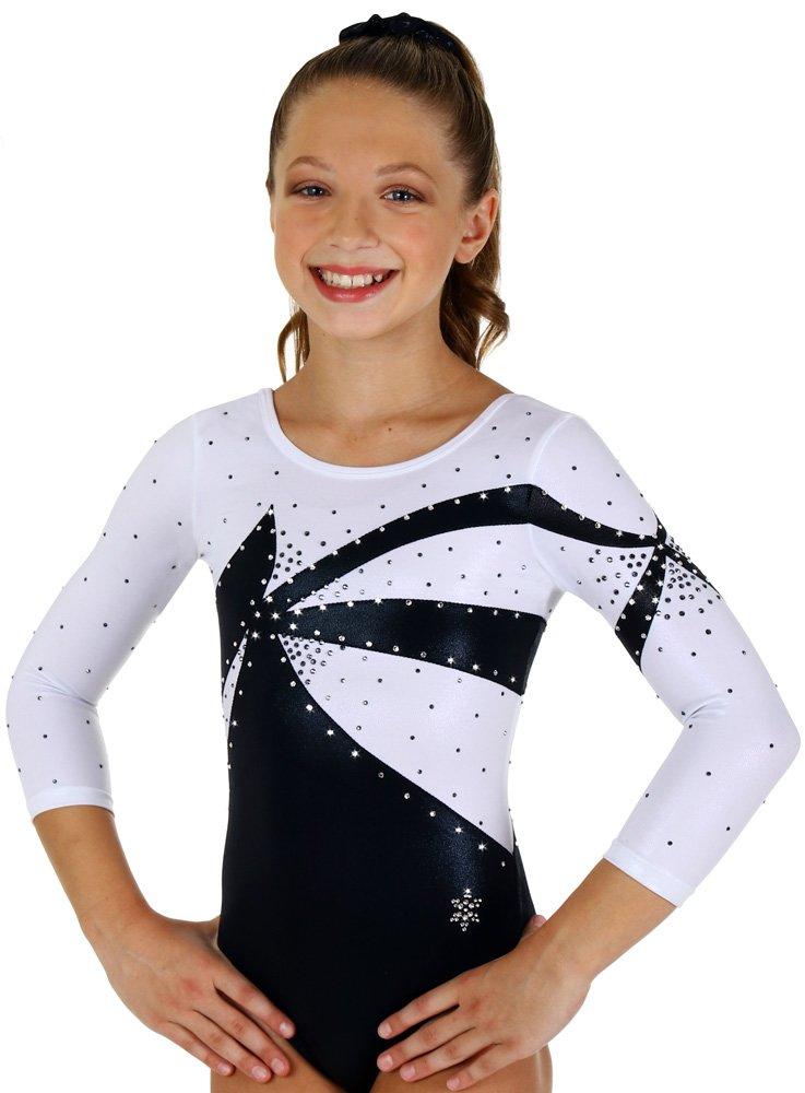ブラックandホワイトConquer Competitionレオタード  Child Large (small 8-9 year old)