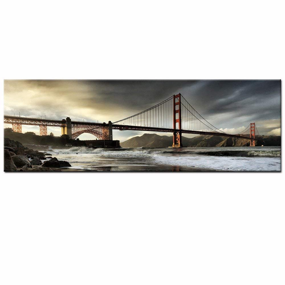 Sea Charm - San Francisco Golden Gate Bridge Picture Stretched,Large Size Cityscape Painting on Canvas Print Modern Wall Decoration Canvas Wall Art(inner frame, 2.Golden Gate Bridge)