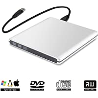 Grabadora CD DVD Externa Lector USB 3.0 Portátil de DVD óptica RW Row Reader Writer Player para PC Windows 2003/XP/7/8/10 Mac OS (Plata (aleación de Aluminio))