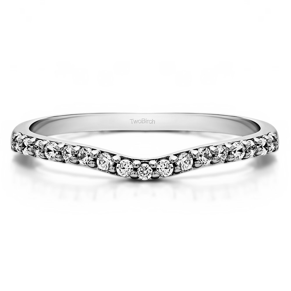 Charles Colvard Created Moissanite Curved Wedding Ring In Silver(0.17Ct)Size 3 To 15 in 1/4 Size Interval