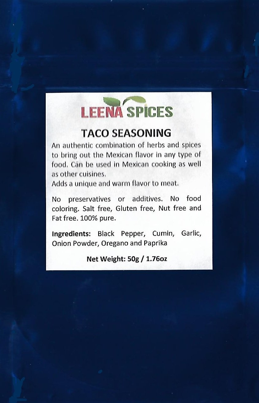 LEENA SPICES - Taco Seasoning Mix - Spice For Mexican Food - No Salt Or Sodium - Simply A Blend Of Original Fresh Traditional Premium And Pure Ingredients – Natural Spicy Gourmet by Leena Spices