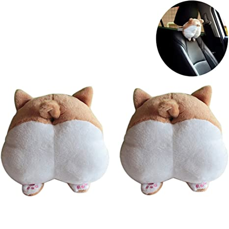 Shop For Cheap Novelty Corgi Bottom Car Seat Neck Pillow Dog Buttocks Headrest Cushion Plush To Rank First Among Similar Products Interior Accessories