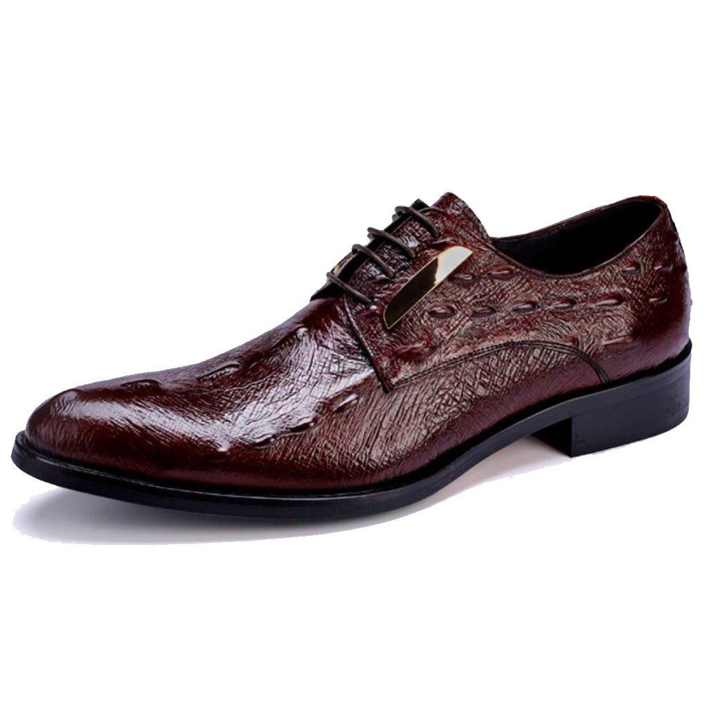 GAOLIXIA Zapatos de cuero real formal de los hombres Zapatos ocasionales de negocios Zapatos de vestido de grano de cocodrilo Zapatos profesionales de la oficina Zapatos de banquete de boda por la noche ( Color : Borgoña , tamaño : 44 ) 44|B