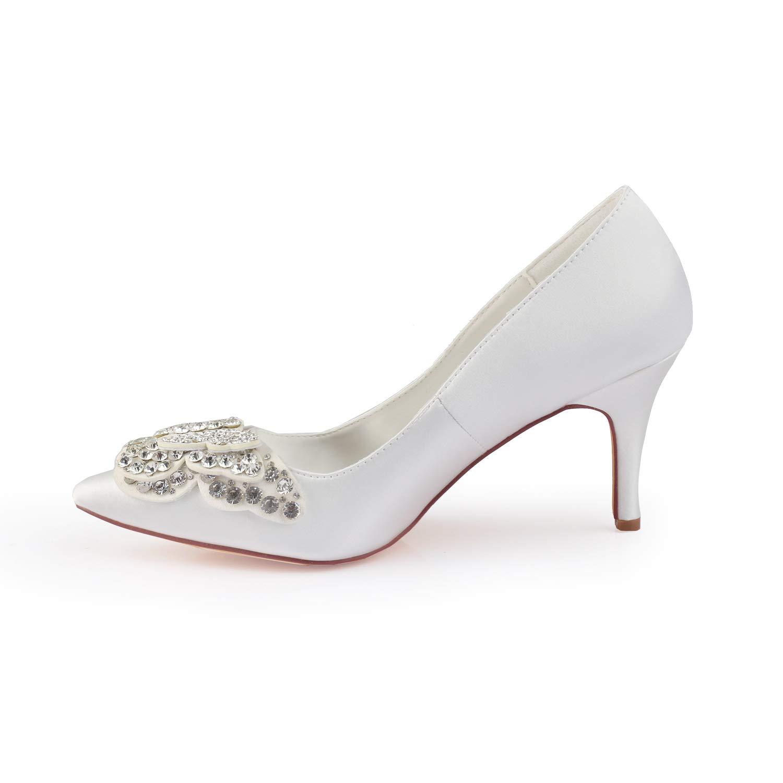 Emily Bridal Hochzeit Schuhe High Heel Spitz Schmetterling Perlen Perlen Perlen Slingpumps Braut Pumps 663a6f