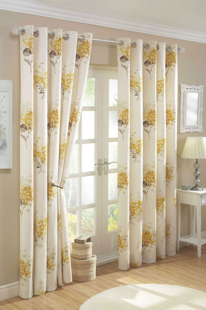 jacobean p yellow treatment floral tab panel window x curtain celine back curtains