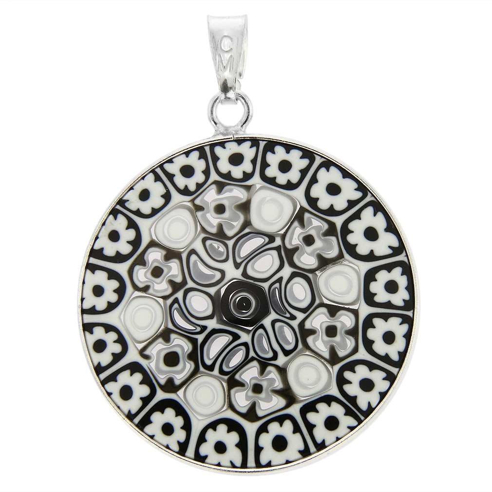 Murano Glass Millefiori Pendant in Silver Frame 1 VA260_7