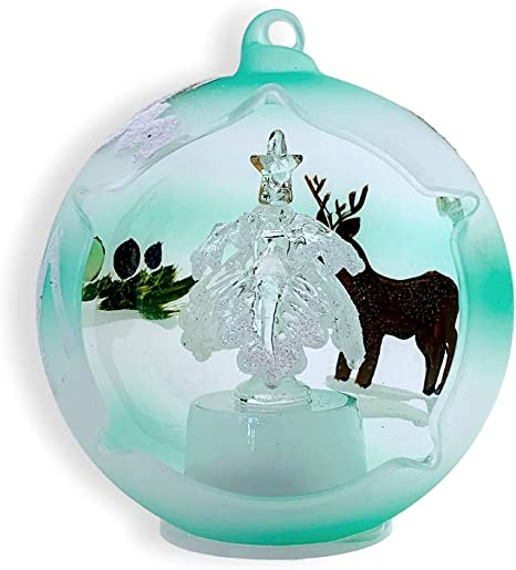 """Hand Painted Glass Globe Lighted Table Top Ornament Winter House Theme 5 1//2/"""""""