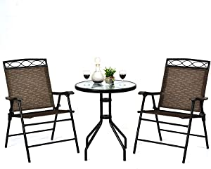 Giantex Patio Dining Set Round Glass Table with 2 Patio Folding Chairs, Outdoor Table and Chairs for Garden, Pool, Backyard, Tempered Glass Tabletop with Umbrella Hole (Brown)