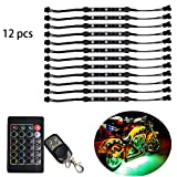 12pc Pcs Million Color led motorcycle light kit Accent Neon Glow Flexible Strip pods Light for Motorcycle - 36 RGB LED with 24 Key And 4 Key Two Remote RGB Music Controller for motorcycle