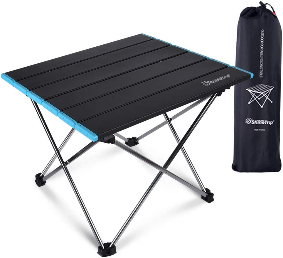 Ultralight Camping Table, Mini Small Portable Folding Beach Table with Aluminum Table Top and Carry Bag for Laptop Dining & Cooking, Picnic, BBQ and Outdoor