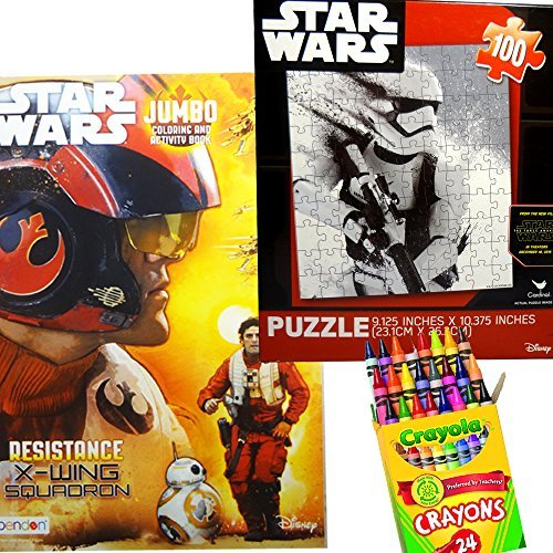 Star Wars Episode 7 The Force Awakens 3 in 1 Set - Including Coloring and Activity Book + Puzzle Game + 24 Crayola Crayons by Star Wars
