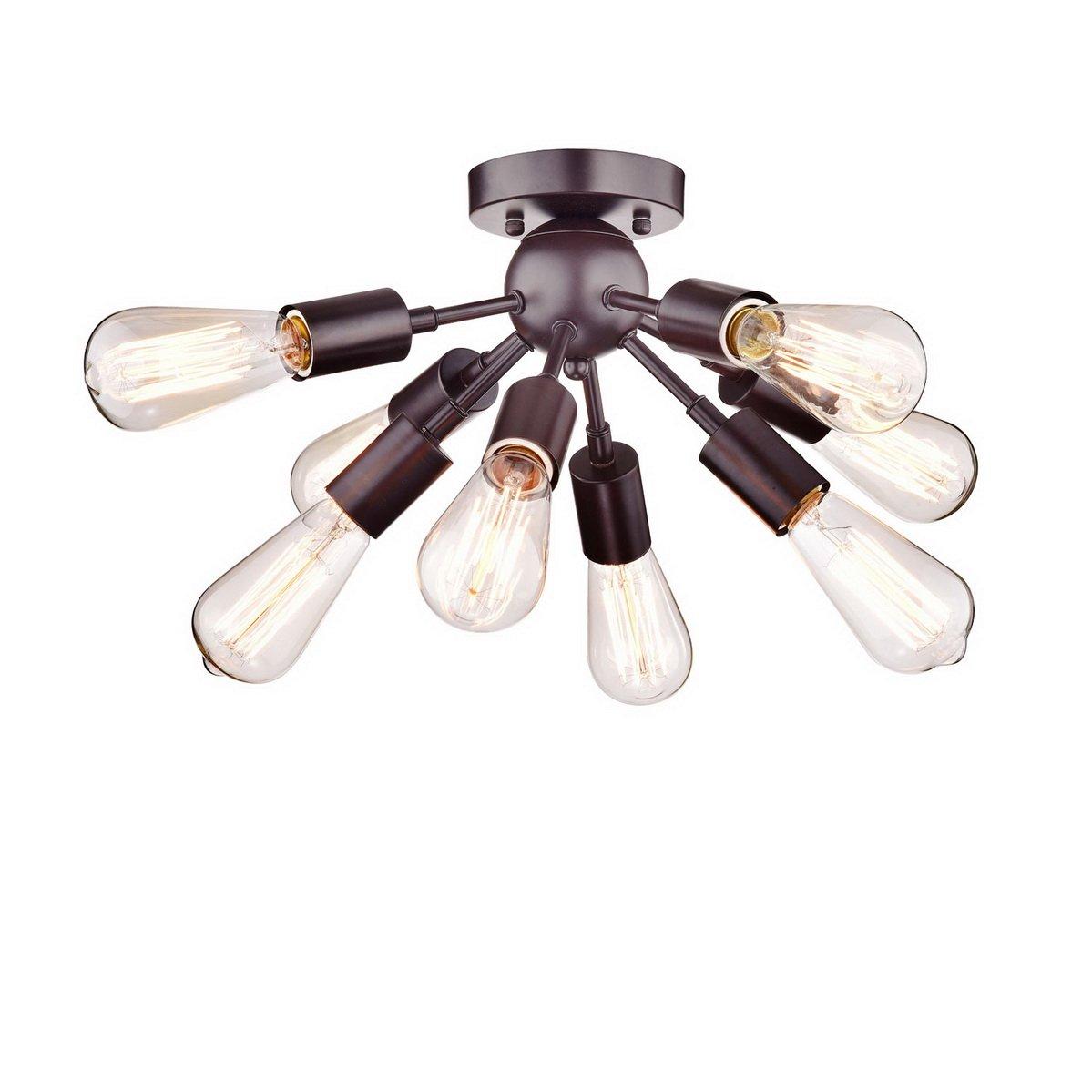 Dazhuan Vintage Antique Metal Orb Sputnik Chandeliers 8 Lights Semi Flush Mount Pendant Ceiling Light Lamp Fixture With Bulb Sockets Com