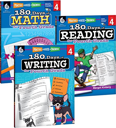 180 Days of Reading, Writing and Math for Fourth Grade 3-Book Set (180 Days of Practice) - 4th Grade Set