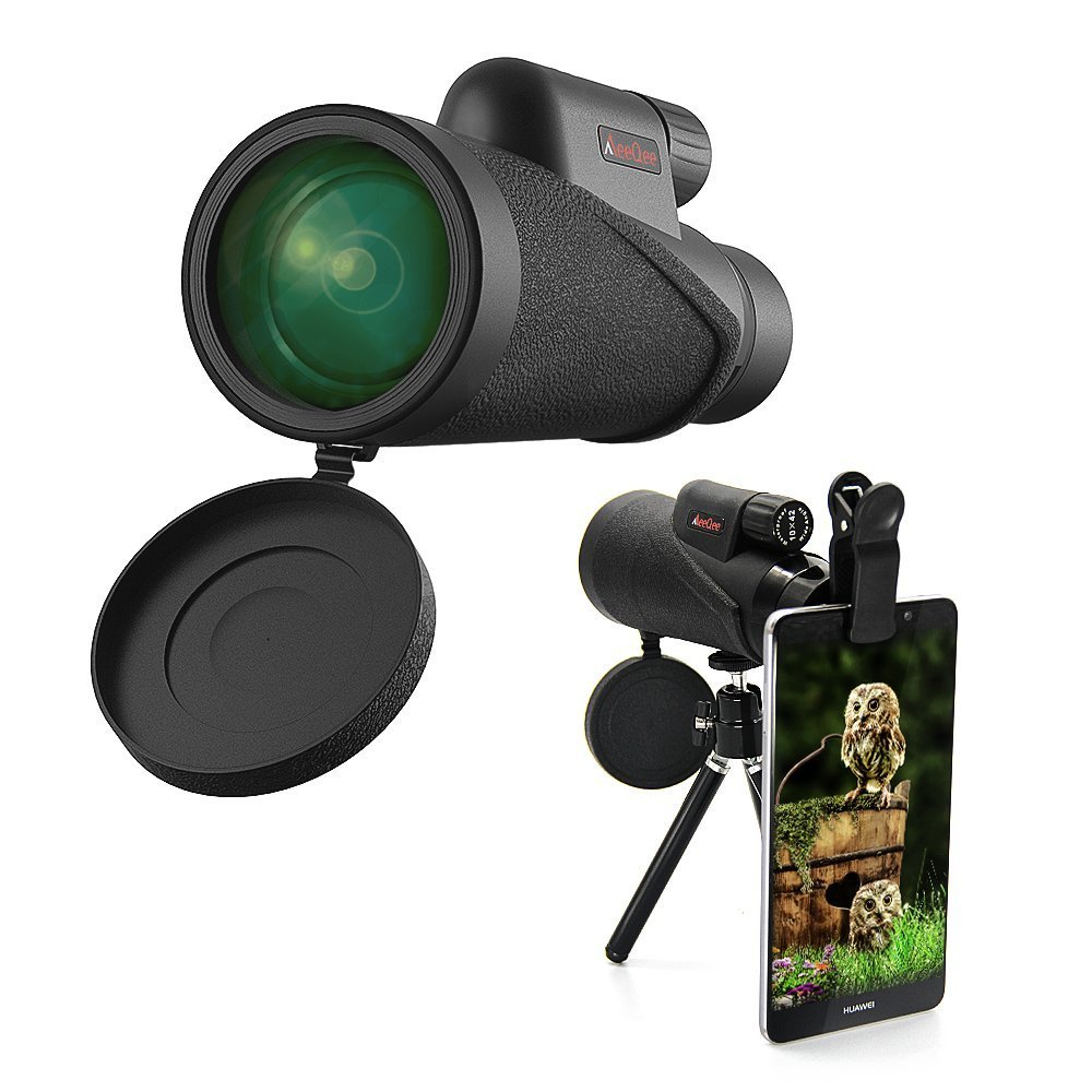 High Power Monocular Telescope 10×42 MeeQee Nitrogen Filled Waterproof Monocular Scope, HD Wide View BAK4 Prism Scope for Camping/Bird Watching/Hunting/ Archery/Hiking/Outdoor/Surveillance