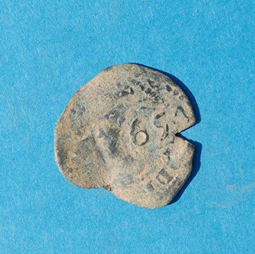 1651 ES Philip IV Castle & Lion Colonial Caribbean Pirate Era 4 Maravedis Cob Coin Good Details
