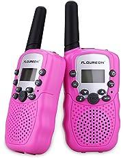 FLOUREON 2PCS Walkie Talkies Niños 8 Canales con Rango de Larga Distancia, Pantalla LCD(Rosa)