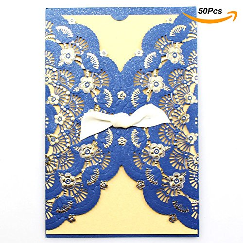Laser Cut Wedding Invitations 50 Pcs Litetop Wedding Invitation Cards With Blank Printable Paper and Envelopes for Menu Marriage Birthday Party Supplies (set of 50pcs) - Picture Perfect Bridal Shower Invitations