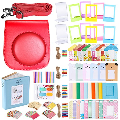 Neewer 56-in-1 Accessory Kit for Fujifilm Instax Mini 70 (Red),Includes: Camera Case with Adjustable Strap, Various Frames, Book Album, Color Filters, Corner Stickers, Photo Instant Film Stickers