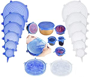 Silicone Stretch Lids 12 Pack Reusable Durable and Expandable Lids to Fit Various Shape of Containers Plates Bowls, Silicone Covers for Fresh Food & Leftovers - Keep Food Fresh