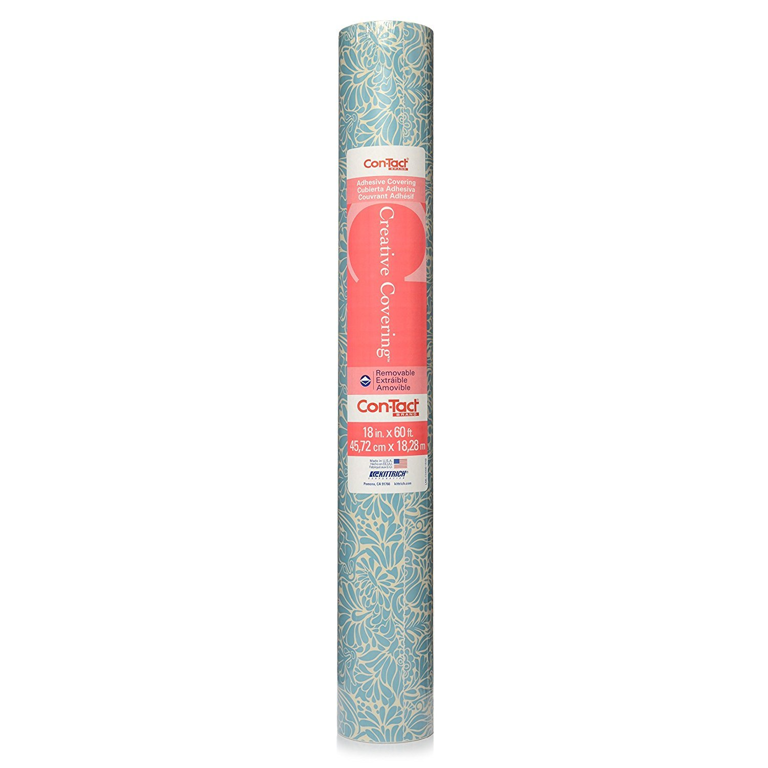 Con-Tact Brand 09F-C9A7F3-12 Antique Floral Blue 18'' x 9' Adhesive Drawer & Shelf Liner Kittrich